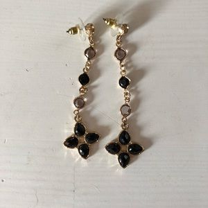 Jewelry - Black, gold, and clear Dangle earrings